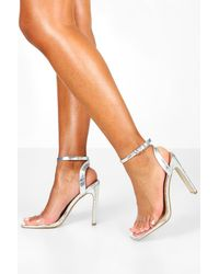 Boohoo Gray Wide Width Square Toe Barely There Heels