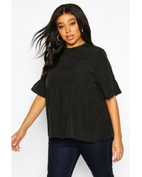 Boohoo Black Plus Woven Frill Sleeve Smock Top