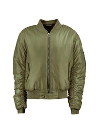 Boohoo Green Oversized Ma1 Bomber With Ruched Sleeves for men