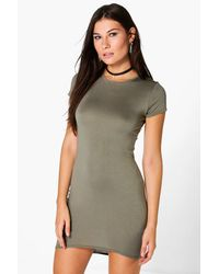 Boohoo Natural Cap Sleeve Curved Hem Bodycon Dress