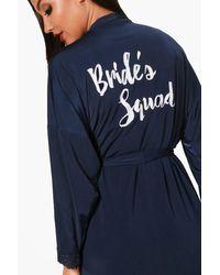 Boohoo Blue Brides Squad Lace Detail Bridal Robe