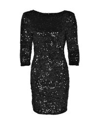 Boohoo - Black Sequin Long Sleeve Bodycon Dress - Lyst