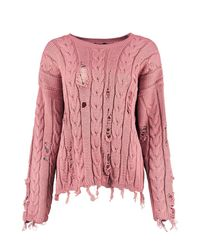 Boohoo - Pink Holly Distressed Cable Jumper - Lyst