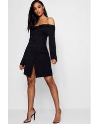 d432fc23cc31 Boohoo Double Breasted Off The Shoulder Blazer Dress in Black - Lyst