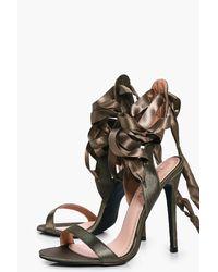Boohoo Multicolor Nancy Ribbon Lace Tie Sandals