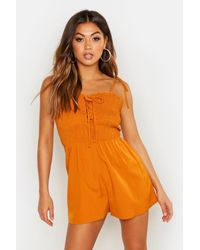 Boohoo Womens Tie Strap Shirred Lace Up Romper - Yellow - 6