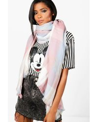 Boohoo Pink Fliss Pastel Check Heavyweight Scarf