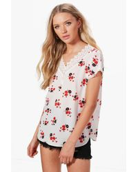 Boohoo White Sally Floral Lace Top