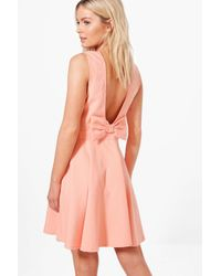 Boohoo - Pink Hollie Bow Detail Skater Dress - Lyst
