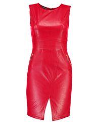 Boohoo Red Skye Pu Zip Detail Dress