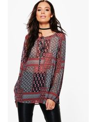 Boohoo Gray Clara Printed Lace Up Smock Top