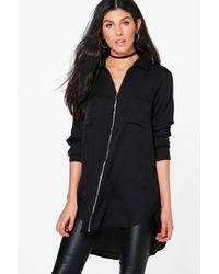 Boohoo Black Anne Longline Zip Front Shirt