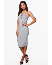 Boohoo - Gray Sophia Cross Back Strappy Midi Dress - Lyst