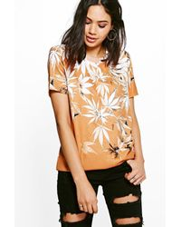 Boohoo | Red Abbie Abstract Print Sweater | Lyst