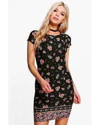 Boohoo Black Izzy Border Print Cap Sleeve Shift Dress