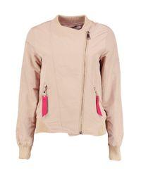 Boohoo Multicolor Rosie Asymmetric Zip Bomber Jacket