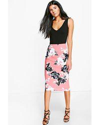 Boohoo - Multicolor Rai Large Floral Midi Skirt - Lyst