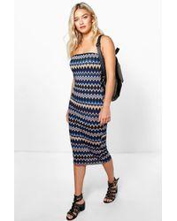 Boohoo Blue Evie Printed Boob Tube Dress