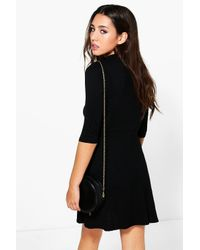 Boohoo Black Millie Choker Wrap Dress