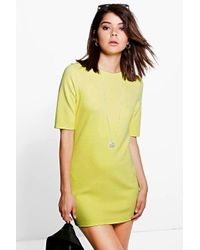 Boohoo - Yellow Keira Midi Sleeve Tunic Dress - Lyst