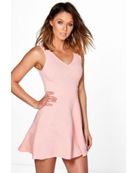 Boohoo - Pink Hannah Textured Skater Dress - Lyst