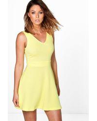Boohoo - Yellow Hannah Textured Skater Dress - Lyst