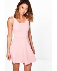 Boohoo - Pink Grace Textured Skater Dress - Lyst