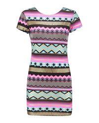 Boohoo Multicolor Lara Aztec Mini Dress