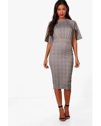 Boohoo Gray Check Split Sleeve Wiggle Midi Dress