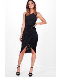 Boohoo Black Addie Slinky Ruched Detail Midi Dress