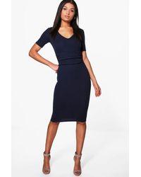 Boohoo Blue Jade Ruched Waist Tailored Midi Dress