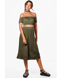Boohoo - Green Tall Lily Off The Shoulder Top & Skirt Co-ord - Lyst