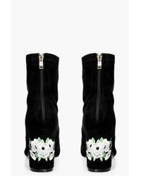 Boohoo Black Ivy Wide Fit Embroidered Sock Boot