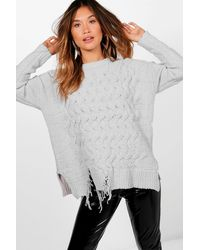 Boohoo - Gray Abigail Distressed Hem Cable Chenille Jumper - Lyst