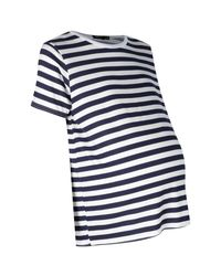 Boohoo Blue Maternity Willow Oversized Stripe T-shirt