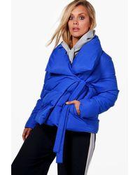 Boohoo Blue Plus Imogen Padded Tie Front Coat