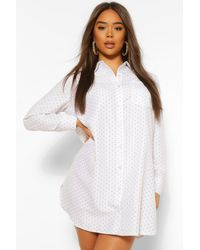 Boohoo White Woven Spot Oversized Shirt Dress