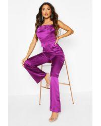 Boohoo Purple Womens Jumpsuit Aus Satin Mit Weitem Bein Und Wasserfallausschnitt