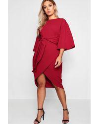 66896617413e Boohoo Plus Kimono Sleeve Wrap Over Midi Dress in Red - Lyst