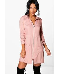 Boohoo | Pink Alberta Utility Zip Front Pocket Shift Dress | Lyst