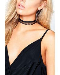 Boohoo | Black Plus Kerry Velvet + Lace Double Layer Choker | Lyst