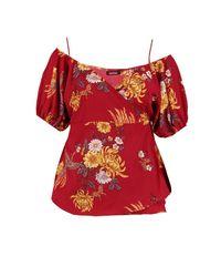 Boohoo Red Plus Oriental Floral Print Wrap Top