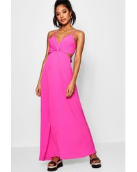 Boohoo - Pink Knot Front Tie Back Maxi Dress - Lyst