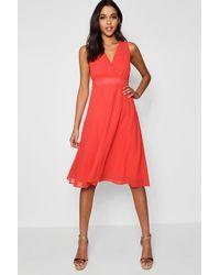 c40120217bd Boohoo Boutique Chiffon Wrap Midi Skater Dress in Red - Lyst