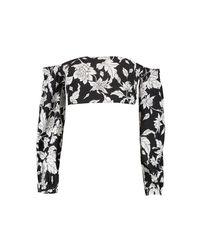 Boohoo - Black Petite Bold Floral Balloon Sleeve Crop Top - Lyst