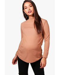 Boohoo Multicolor Maternity Ribbed High Neck Top