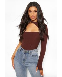 Boohoo Brown Soft Rib Cut Out One Shoulder One Piece