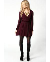 Boohoo - Blue Jersey Long Sleeve Wrap Dress - Lyst