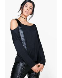 Boohoo - Black Sara One Shoulder D Ring Tie Top - Lyst