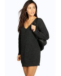 Boohoo Multicolor V Neck Sweater Mini Dress